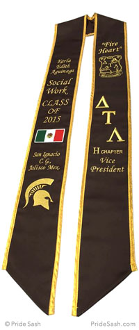 brown graduation sash