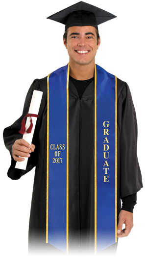 Student wearing graduation sash