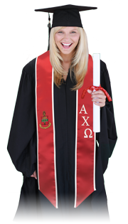 Student wearing greek stole